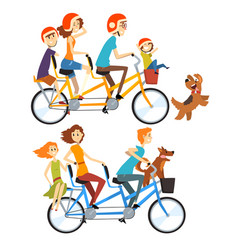 Two happy families riding on tandem bicycles with vector