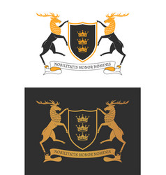 two noble deers hold a shield 01 vector image