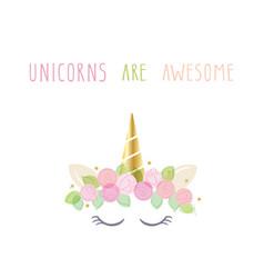 Unicorn cute cartoon character for birthday baby vector