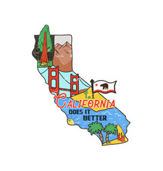 vintage california map badge with tourist vector image