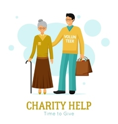 Volunteers Charity Help Organization Flat Poster vector