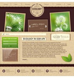 Web site design Ecology background vector image