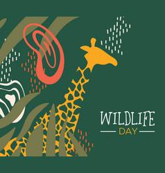 wildlife day safari web banner with giraffe vector image