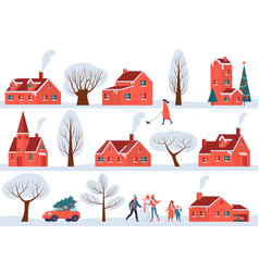 winter sity street vector image