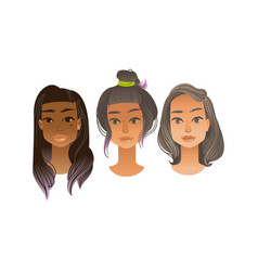 woman avatar set in flat vector image