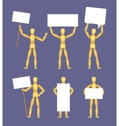 Wooden mannequins with the blank white signs vector image