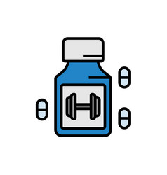 Workout energy booster supplement icon with pill vector