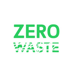 zero waste green emblem with smeared waste eco vector image