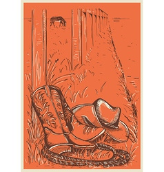 American Ranch with cowboy boots and hat vector image vector image