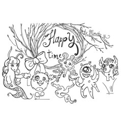 card with friendly monsters tree branches and vector image