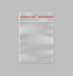 empty transparent plastic zipper bag with hang vector image vector image