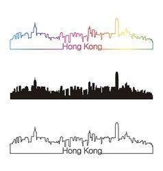 Hong Kong skyline linear style with rainbow vector image