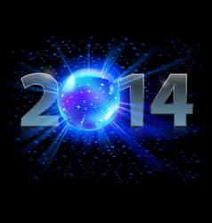 new year 2014 metal numerals with disco ball vector image
