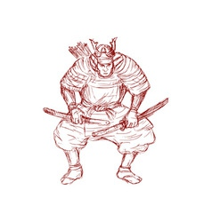 samurai warrior with sword in fighting stance vector image vector image