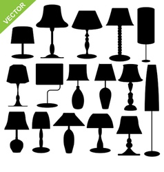Silhouette lamp vector image