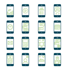 smartphone functions and apps icon set vector image vector image