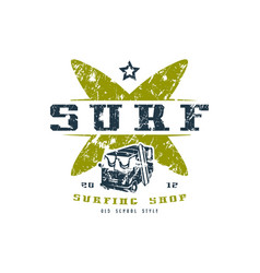 Surfing shop emblem graphic design for t-shirt vector