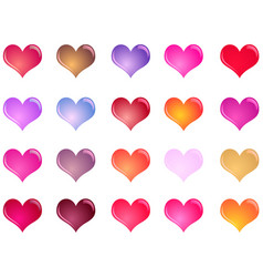 colorful shiny hearts collection vector image vector image