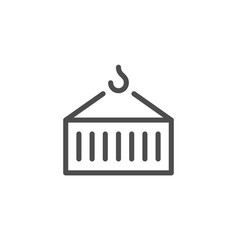 Container transportation line icon vector