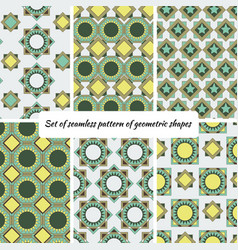set of seamless pattern of geometric shape vector image
