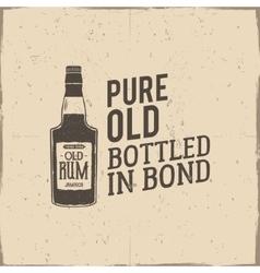 Vintage handcrafted label emblem with old rum vector image