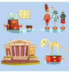 Museum Retro Cartoon 2x2 Flat Icons Set vector image vector image