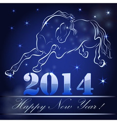 New 2014 year card with horse outline vector image vector image