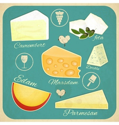Vintage Set of Cheese vector image vector image