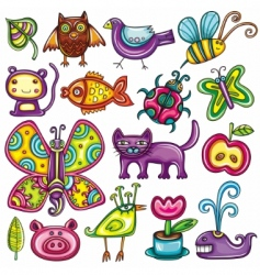 cartoon flora and fauna set vector image vector image