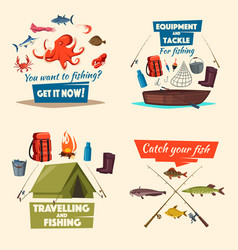 fishing icon set with boat tackle and fish catch vector image