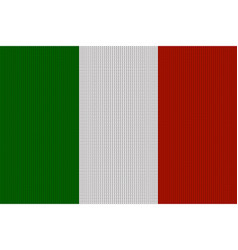 flag of italy on knitted woolen texture knitted vector image