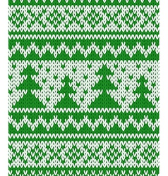 Knitted seamless pattern with fir-trees vector