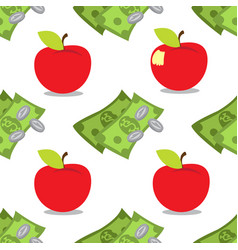 money and apple seamless pattern on a white vector image