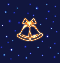 neon christmas bells icon in line style vector image
