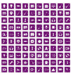 100 show business icons set grunge purple vector