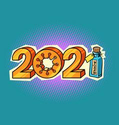 2021 new year coronavirus vaccine inoculation vector image