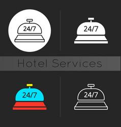 24 hour concierge service dark theme icon vector
