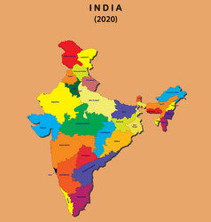 3d map india all new states name in india vector