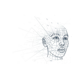 abstract human head low poly wireframe vector image