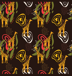 African art seamless pattern with giraffe animal vector