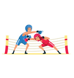 Amateur boxing match flat vector