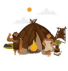 ancient people standing near torch with fireplace vector image