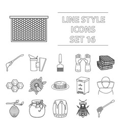 apiary set icons in outline style big collection vector image