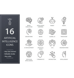 artificial intelligence line icons set black vector image