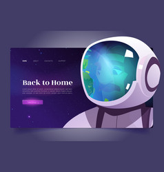 Back to home cartoon landing page with astronaut vector
