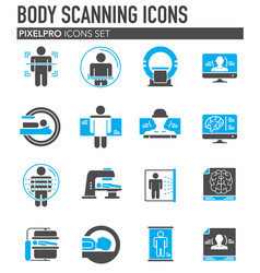 Body scan related icon set on background for vector