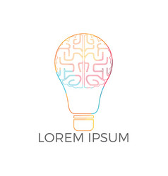 bulb and brain logo design vector image