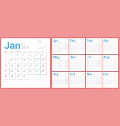 calendar 2019 planner design starts monday vector image