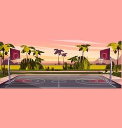 Cartoon background of street basketball vector