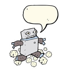 Cartoon running robot with speech bubble vector